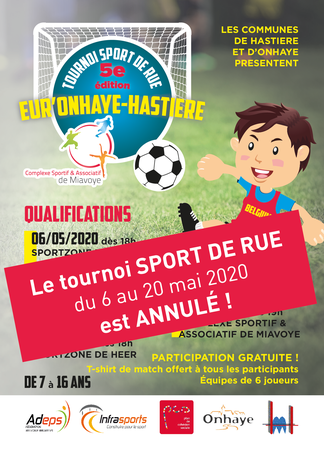"""Tournoi de Foot de Rue """"Eur'Onhaye-Hastière 2020"""" - !!!! Annulé !!!!"""